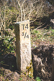 A track distance marker from the old railway line