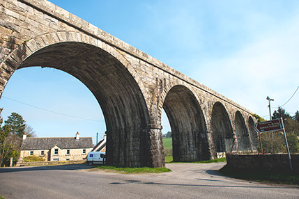 The viaduct constructed around 1860 has 16 limestone arches